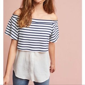 Anthropologie — Striped Off The Shoulder Tunic